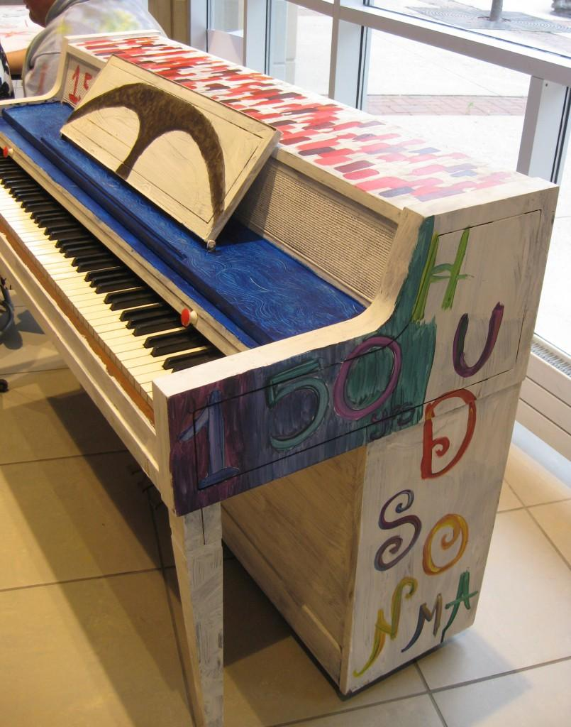 The unfinished piano for Hudson's 150th anniversary debuts at the Art Show. | by Stephanie Petrovick